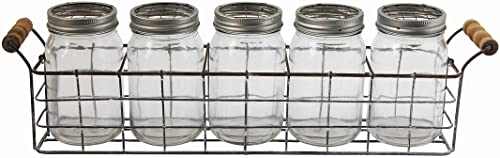 Creative Co-Op Glass Vases in Wire Basket with Handles 6 Pieces