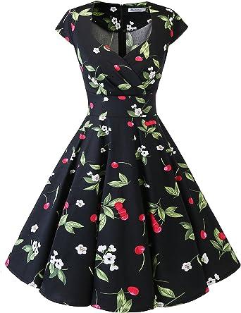 TALLA M. Bbonlinedress Vestido Corto Mujer Retro Años 50 Vintage Escote Black Small Cherry