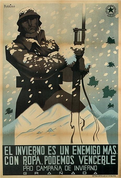 Póster, Vintage Póster, Propaganda Póster De La Guerra Civil Española 1936 – 39 – Pro Campana de invierno (Pro Invierno Emocionantes), texto España, 250 g/m², brillante, tamaño A3, A3: Amazon.es: Hogar
