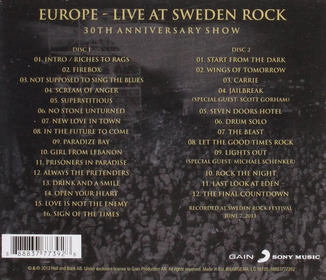77533acbad0 Europe - Live at Sweden Rock-30th Anniversary Show - Amazon.com Music
