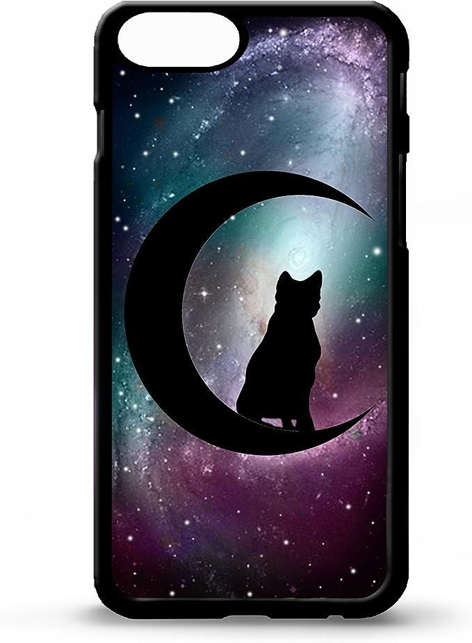 LIKE YOUR FACE Cover per iPhone 6 Plus 14 cm Gatto Nero e Mezzaluna Witchcraft Witch Simbolo Stelle Nero del Telefono