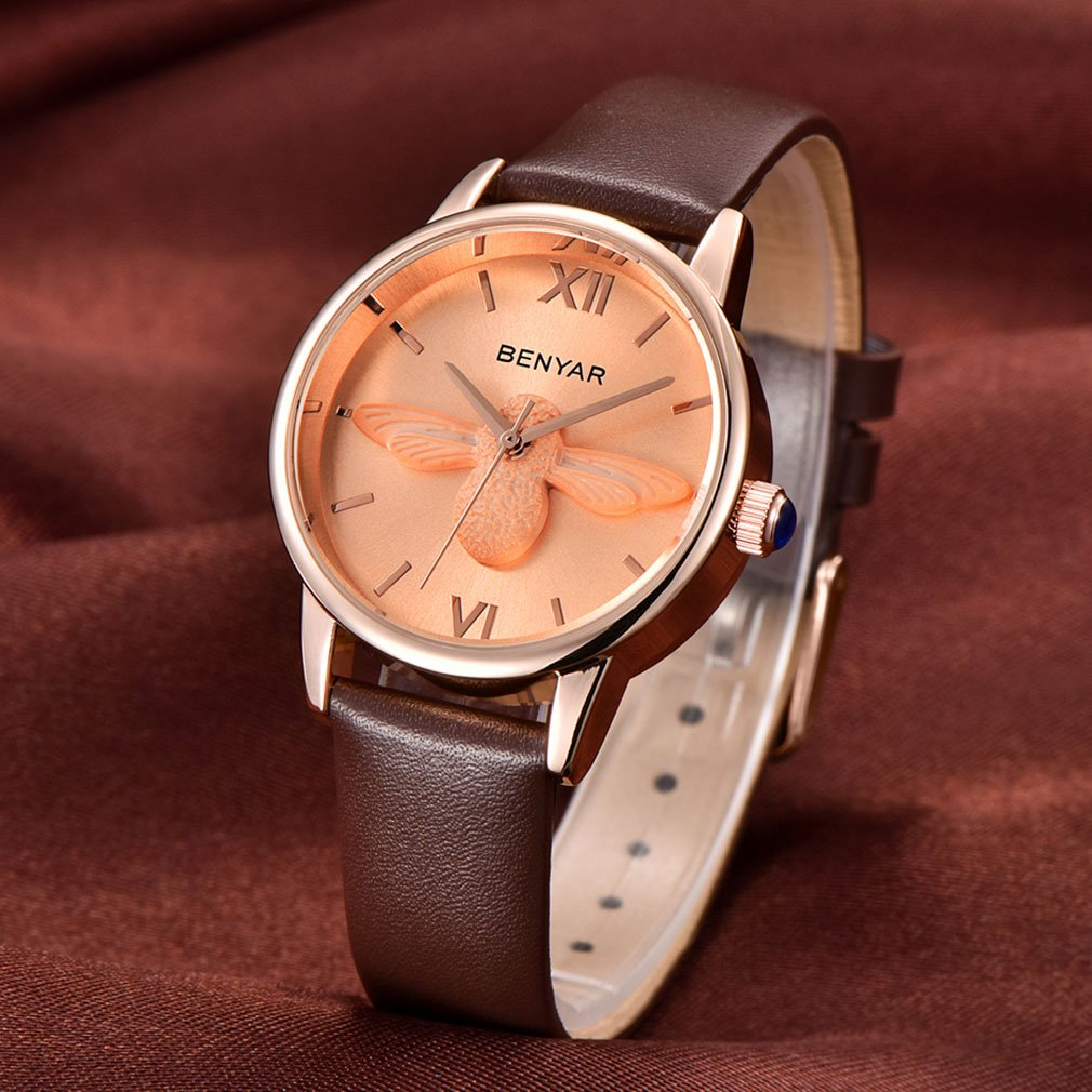 Amazon.com: BENYAR Waterproof Cute Bee Ladies Watches Leather Strap Business Casual Wrist Watch for Women (Brown Rose Gold): Watches