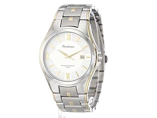 Amazon.com: Armitron Mens 20/4413SVTT Two-Tone Bracelet and Silver Dial Dress Watch: Watches