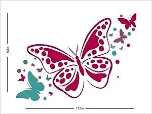 """Fabulous Décor - Pink and Fuchsia Butterflies Wall Art Premium Vinyl Decal Sticker 17.5"""" W X 12.7"""" H"""