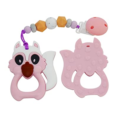 Kute Keiki Squirrel Silicone Baby Teether Toy with Pacifier Clip – Natural, Instant, Soothing Teething Relief – Freezer & Dishwasher Safe – Non-Toxic & BPA Free – for Boys & Girls (Quartz Pink): Toys & Games