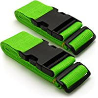 CampTeck U6746 Long Travel Luggage Straps Adjustable Suitcase Safety Belts Green, 1 Pair