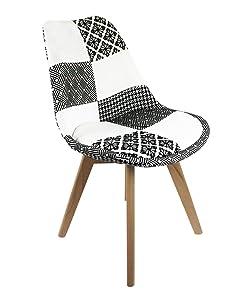 Meubletmoi –Juego de 4sillas Patchwork Blanco y Negro–Design graphik Chic–pies de Madera Haya Maciza–Confortable y Resistente–Lidy