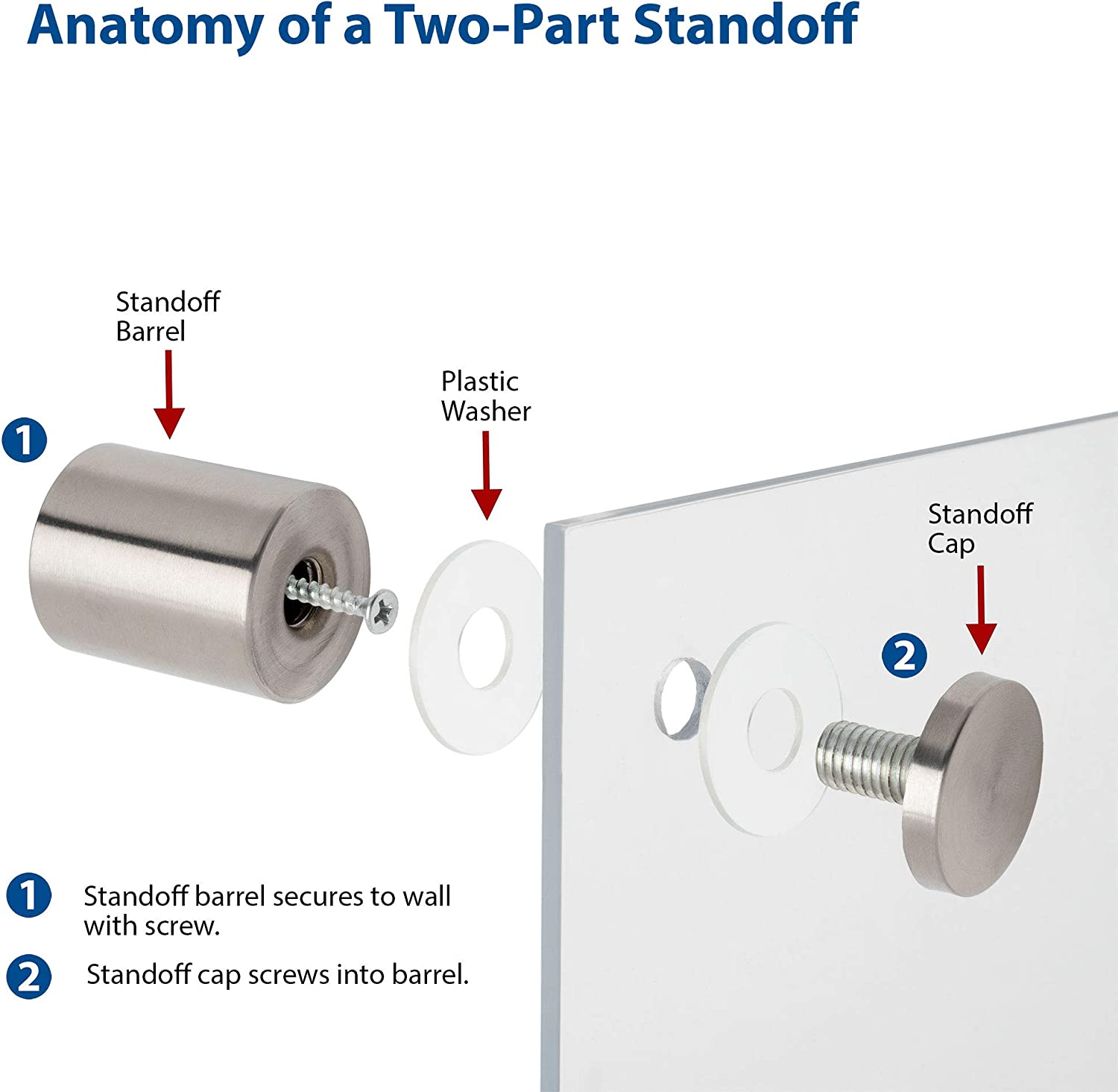 Sign Standoff 1-1//4 Diameter x 1 Barrel Length Brushed Stainless Finish Eco Lock Series Tamper Proof Standoff Pack of 2 by Outwater