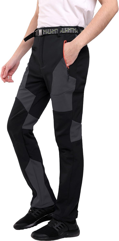 SANMIO Pantalones de Senderismo para Hombre al Aire Libre Pantalones Funcionales Ligeros Transpirables y Softshell para Exteriores Pantalones Casuales para Caminar con Cintur/ón