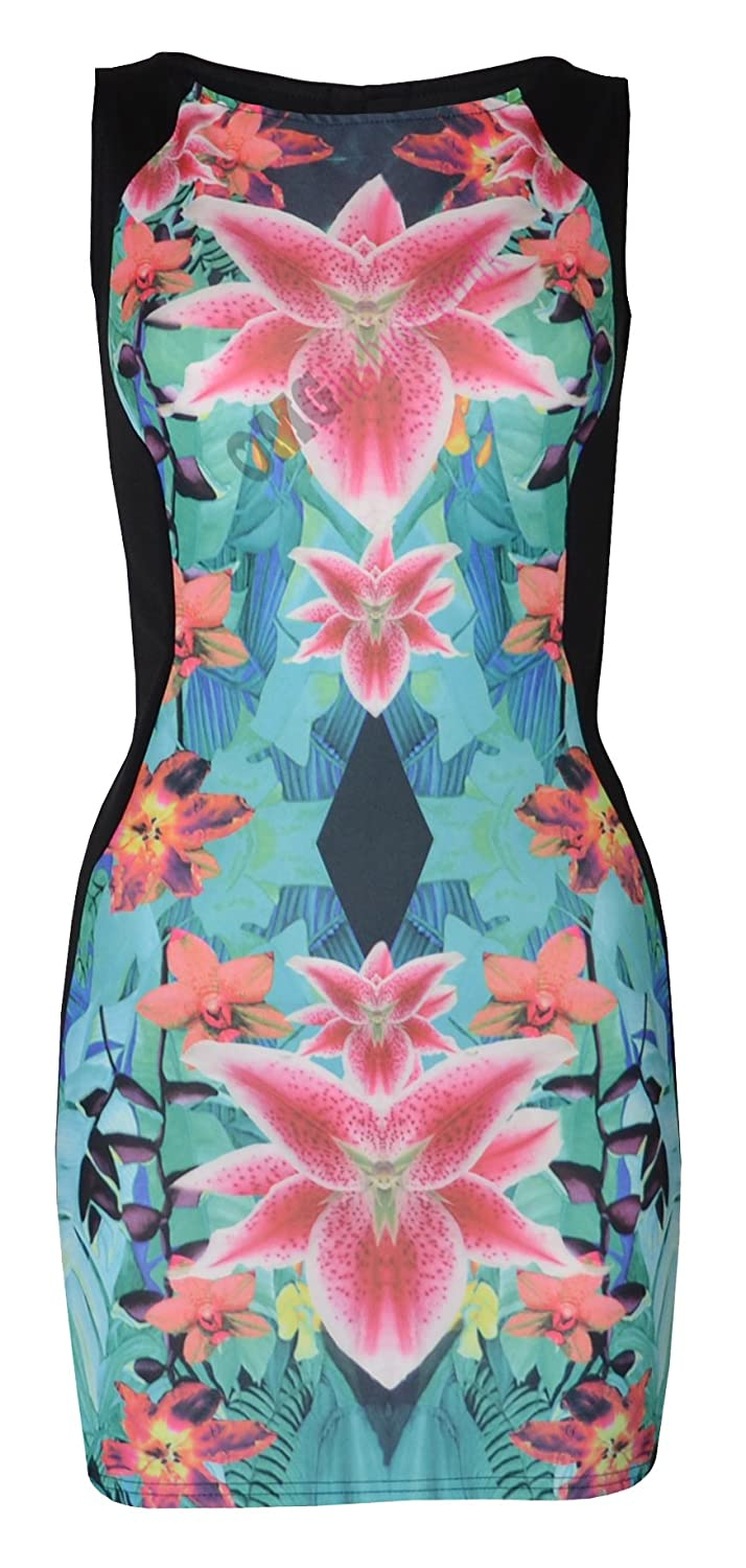 WOMENS AQUA FLORAL PRINT VEST BODYCON DRESS