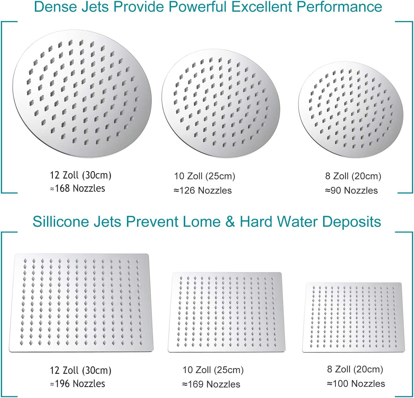 HG Power Rain Shower Head 12 Inch Stainless Steel Rain Shower Head Square 360 Rotation Built-in Shower Head with Silicone Nozzle G1//2 Inner Thread Polished Waterfall Rain Shower Head Wall Mounted