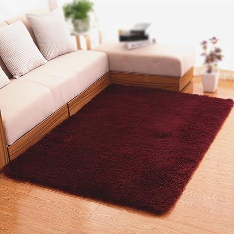 Amazon.com: Alfombra de vino rojo moqueta/lavable salón sofá ...