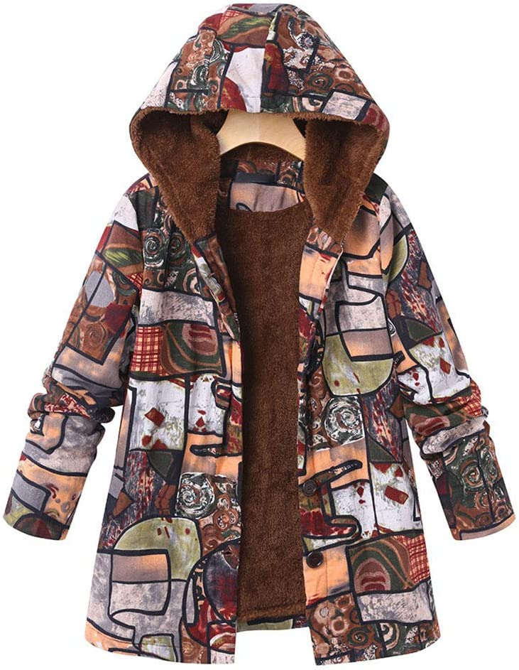 Womens Coats HAPPIShare Winter Warm Outwear Color Printing Hooded Pockets Oversize Hasp Overcoat