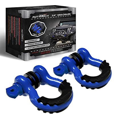 "AUTMATCH Shackles 3/4"" D Ring Shackle (2 Pack) 41,887Ib Break Strength with 7/8"" Screw Pin and Shackle Isolator & Washers Kit for Tow Strap Winch Off Road Towing Jeep Vehicle Recovery Blue: Automotive"