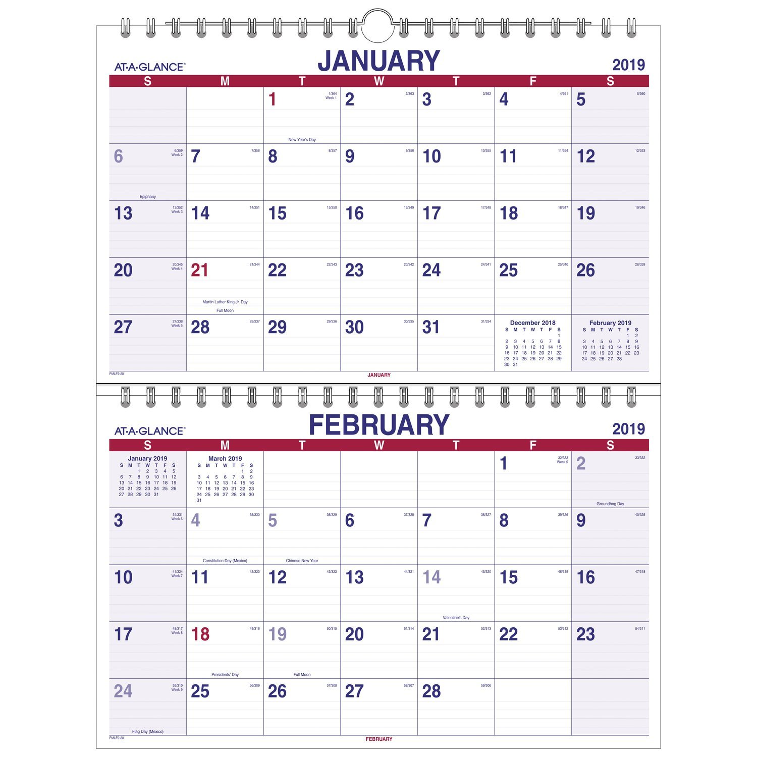 AT-A-GLANCE 2019 Wall Calendar, 2-Month Display, 22'' x 28-1/2'', XLarge, Wirebound, Move-A-Page (PMLF928)