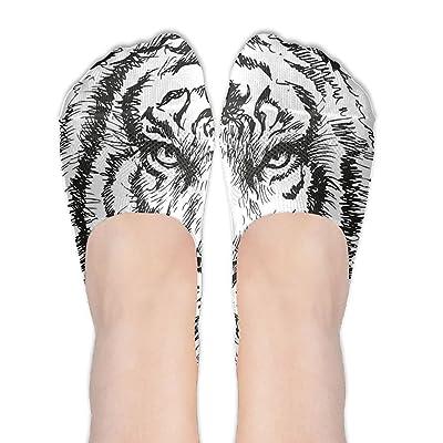 Lucy Jim Sketchy Hand Drawn Safari African Animal Lion Tiger Head Feline Wild Artwork Women's Terylene Cotton Stockings
