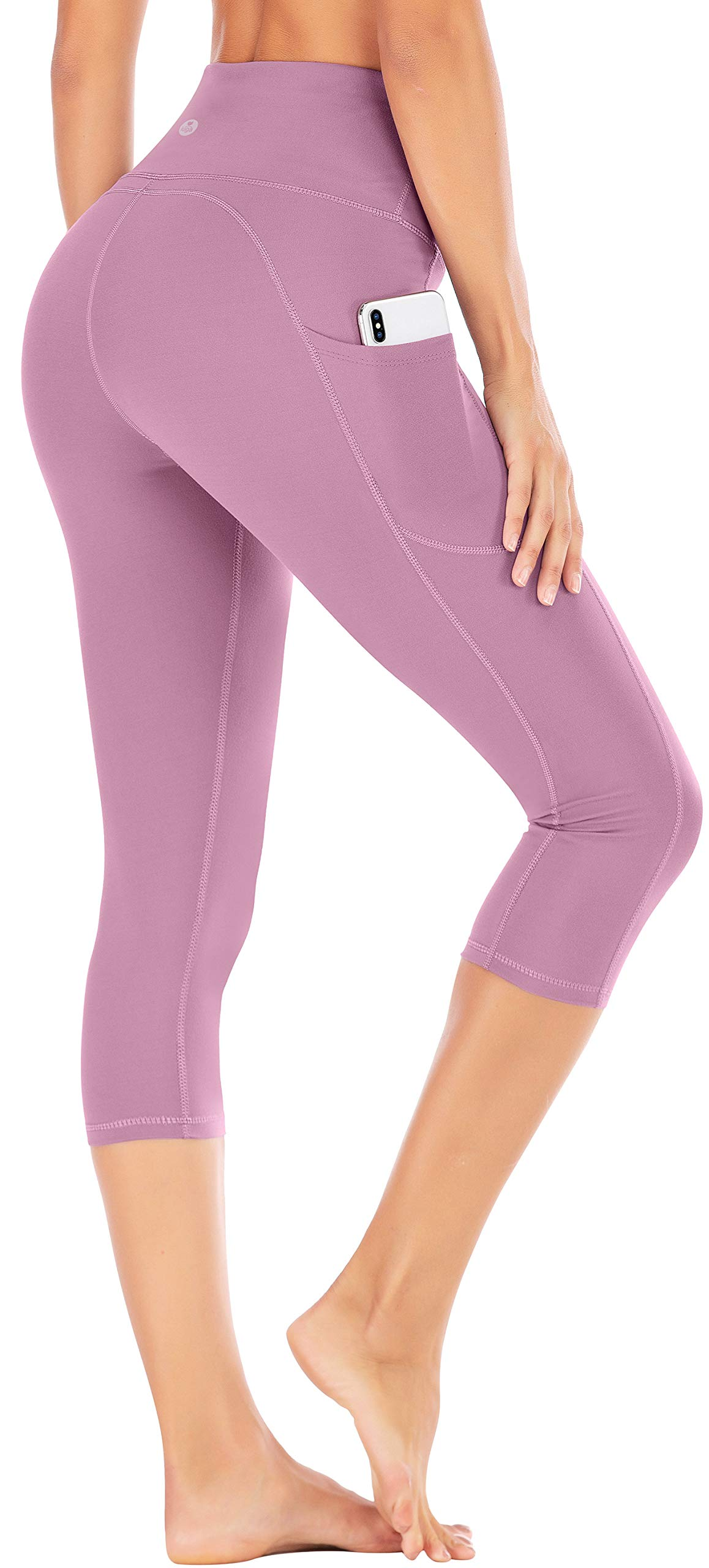 IUGA High Waist Yoga Pants with Pockets, Tummy Control Yoga Capris for Women, 4 Way Stretch Capri Leggings with Pockets(Begonia Pink, XL) by IUGA