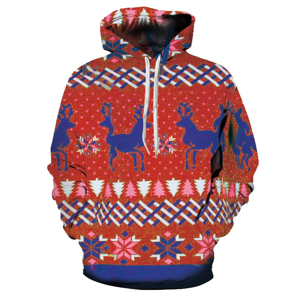 Men's Christmas Printing Hooded Athletic Sweaters Hoodie Hooded Sweatshirts (Red, M-L)