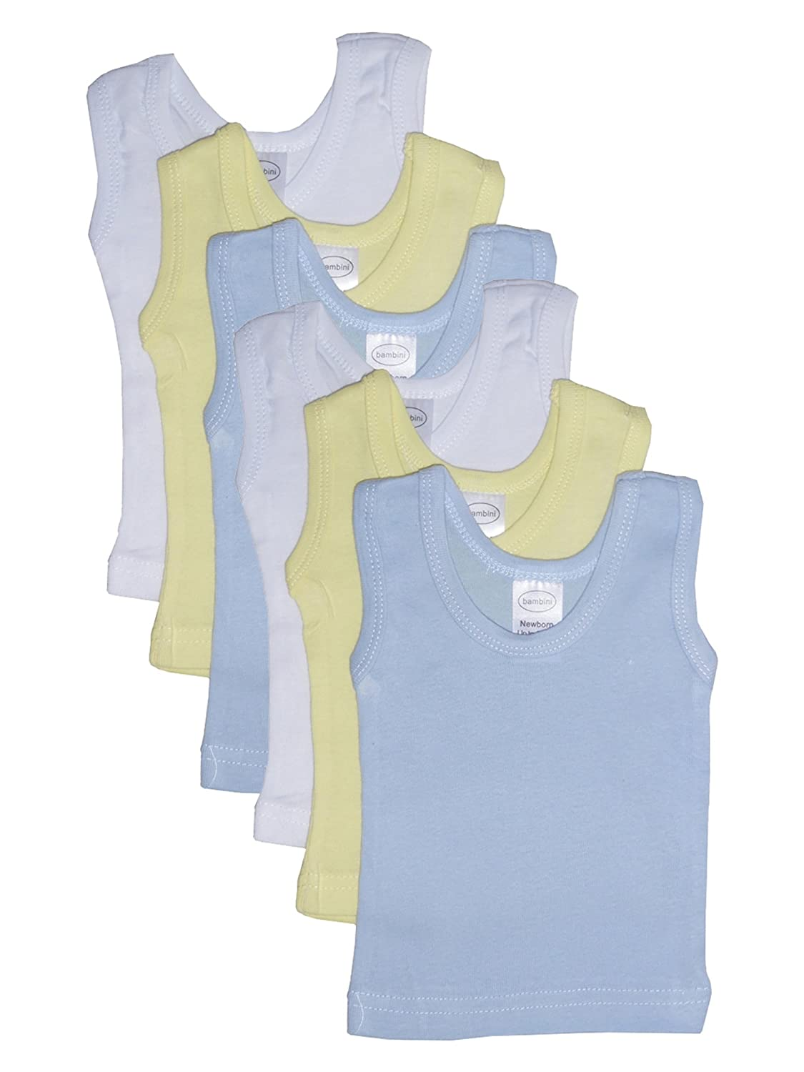 bambini Baby Boy's White, Blue, Yellow Rib Knit Pastel Sleeveless Tank Top Shirt bambini Baby Boy's White BAM035