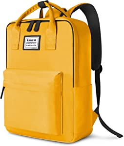 SOCKO Laptop Backpack for Women Men Stylish College Backpack School Bag Lightweight Bookbag Travel Work Carry On Backpack Casual Daypack Rucksack Computer Bag Fits up to 15.6 Inch Laptop, Yellow