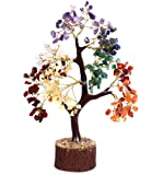 Crocon Seven Chakra Natural Healing Gemstone Crystal Bonsai Fortune Money Tree for Good Luck, Wealth & Prosperity-Home Office Decor Spiritual Gift Size 10-12 Inches