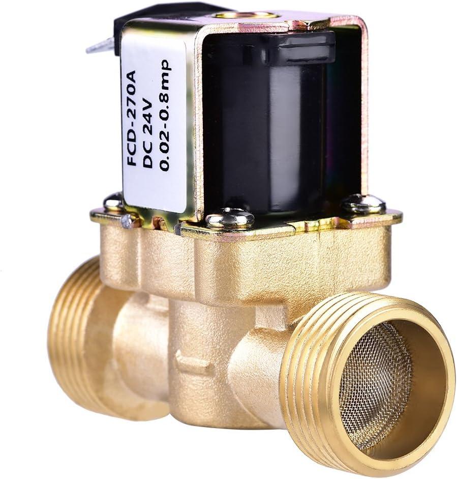 Tosuny Vanne /électromagn/étique /électrovanne /électrique en Laiton normalement ferm/ée de CC 24V de 3//4 Pouce pour Le contr/ôle de leau