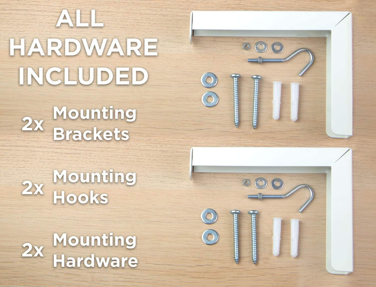 6 inch Adjustable Mounting Hooks for Projection Screen Mount-It White Projector Screen Wall Mount L-Brackets 66 Lb Capacity Each Wall Hanging Bracket For Home Projector and Movie Screens 1 Pair