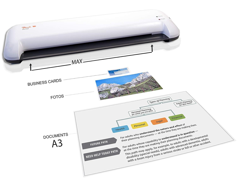 Peach PL755 - Laminador (Hot laminator, Pocuh, Negro, Color blanco): Amazon.es: Oficina y papelería