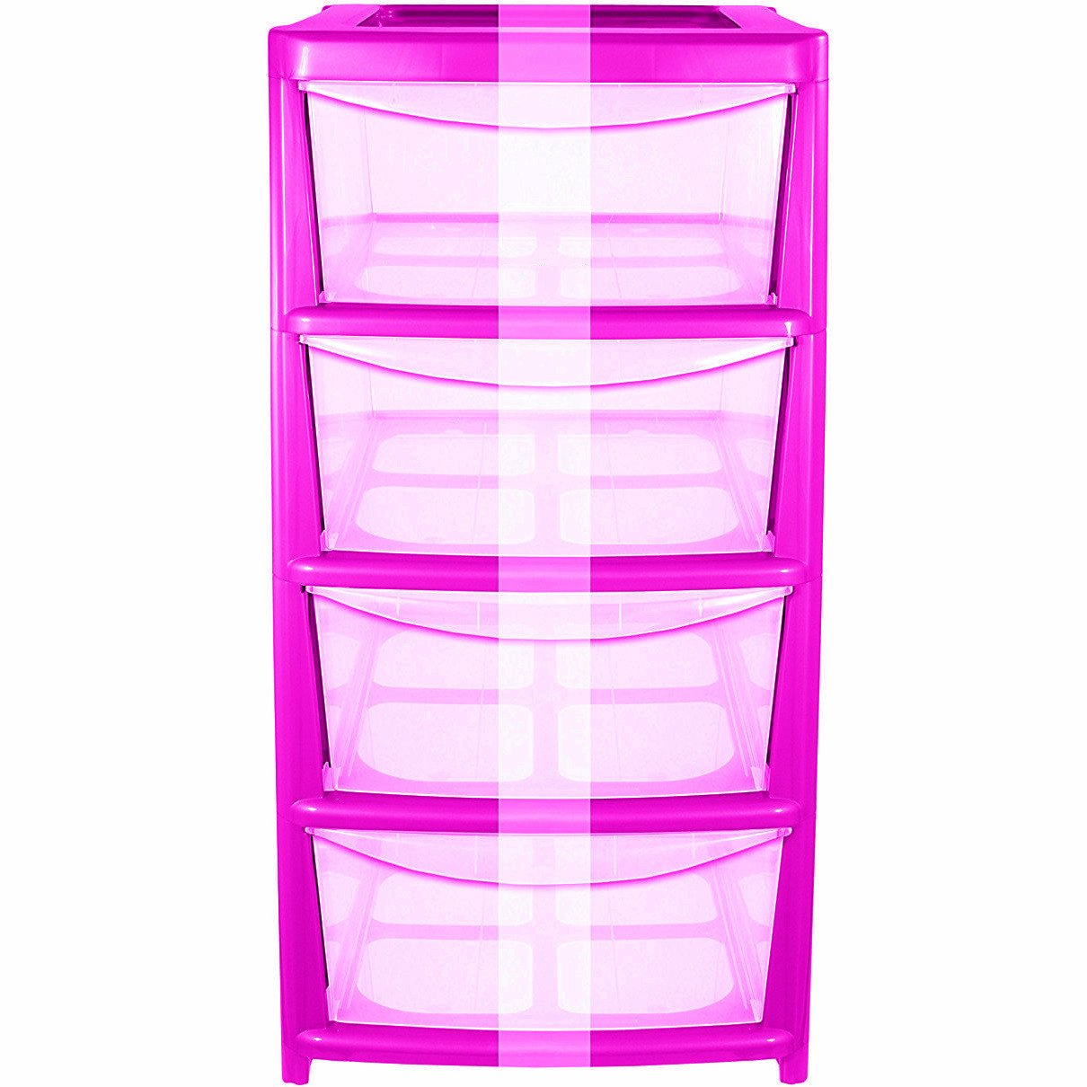 CrazyGadget 4 Drawer Pink Medium Tower Storage Draw Plastic School Office Home Heavy Duty New