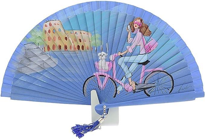 Abanico dama y perro en bicicleta vintage azul Talla: U Color ...
