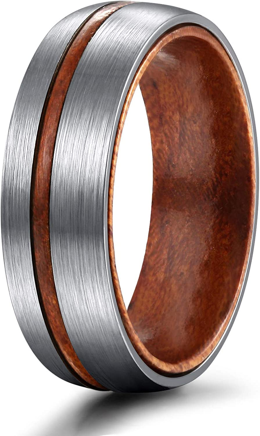 TIGRADE 6mm 8mm Titanium Wedding Band with Nature Wood Comfort Fit Dome Matte Grooved Size 6-12
