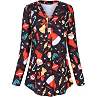 AMZ PLUS Women's Plus Size Loose Blouse Stretch Long Sleeve Tops Polka Dot V Neck Casual Tunic Shirts