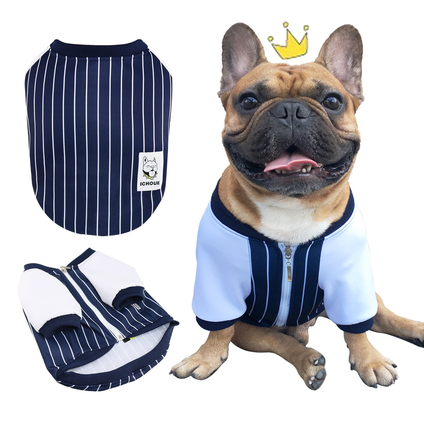iChoue Pets Dog Clothes Jacket French Bulldog Stripe Shirts Cotton Puppy Coats Pug Corgi English Bulldog American Bully Pitbull Clothing - Black/Size L