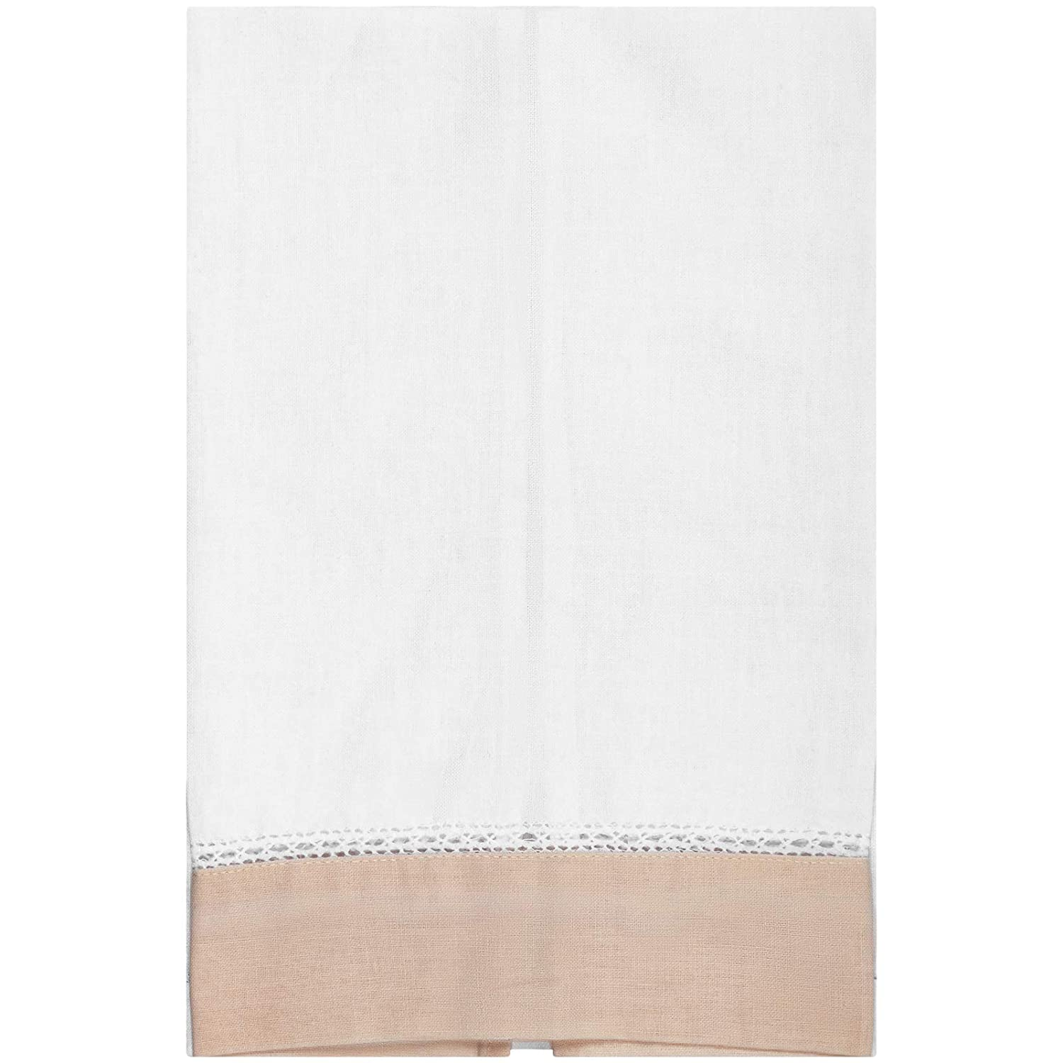 Linen Guest Bath Tea Hand Towel White with Ecru Colored Border 14 X 22 Inch