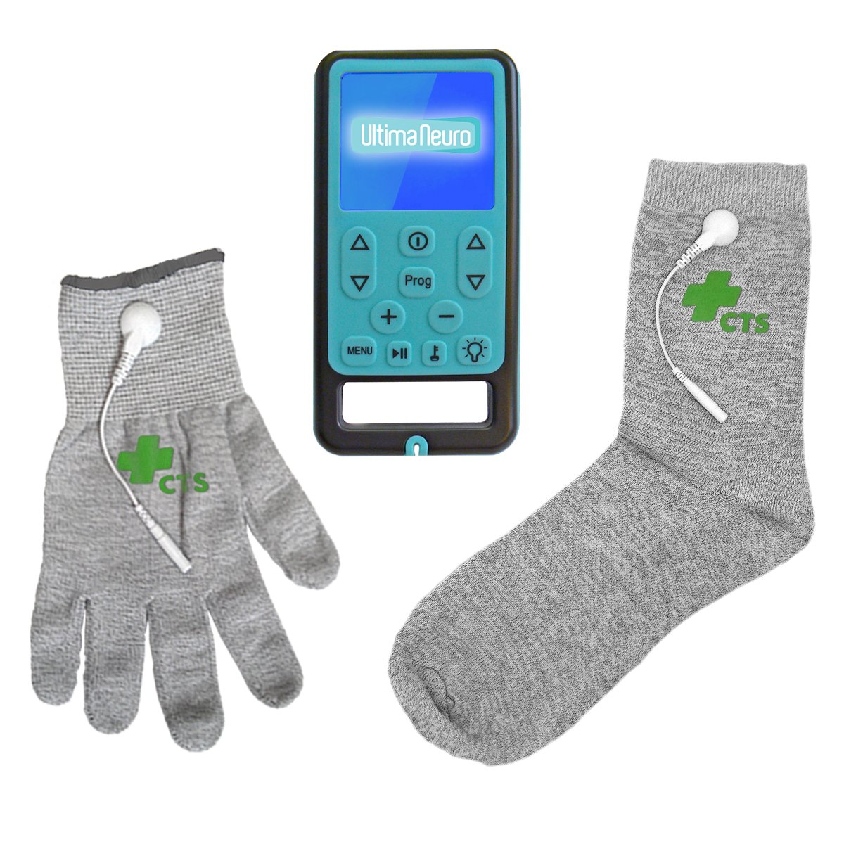 Ultima Neuro Neuropathy Treatment System for Relief of Peripheral, Diabetic & Poly Neuropathy Nerve Pain with Conductive Glove & Sock (Glove size Medium) by Ultima Neuro & Conductive Therapy Shop