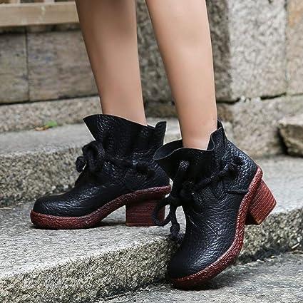 YAN Zapatos de Mujer Moda de Cuero Botines Casuales Botas ...