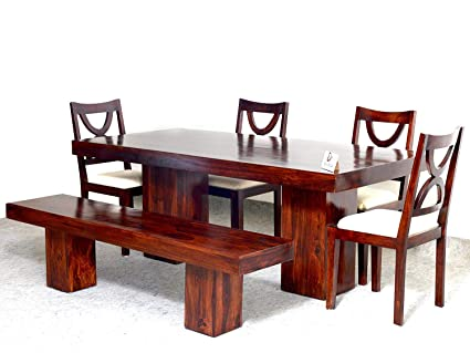 Enjoyable Devsignature Sheesham Wood 6 Seater Dining Table Set With 4 Chairs And 1 Bench For Home Walnut Finish Creativecarmelina Interior Chair Design Creativecarmelinacom
