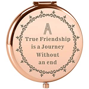 Dynippy Friend Gifts Birthday Gift Ideas Engraved Rose Gold Compact Mirror with Inspirational Quotes for Birthday Wedding Gift Special Celebration - A True Friendship is a Journey Without an end