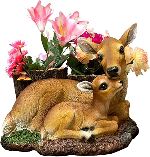 CT DISCOUNT STORE Adorable Deer Loving Family Outdoor Garden Statue Original Version Charming Hand Painted Mother and Son Deer Planter