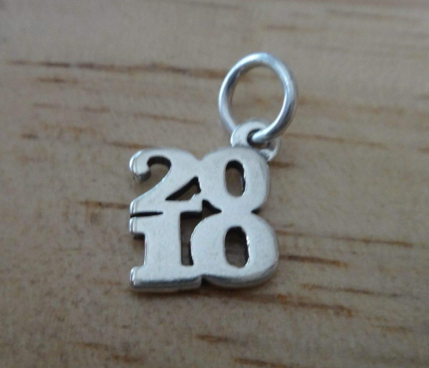 Fine Charms Sterling Silver 13x12mm College School Graduation 2010 Birth Year Stacked