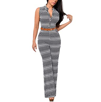 f8a6fc3aea01 Amazon.com: Fashion Big Women Sleeveless Maxi Overalls Belted Wide Leg  Jumpsuit Long Pant: Clothing