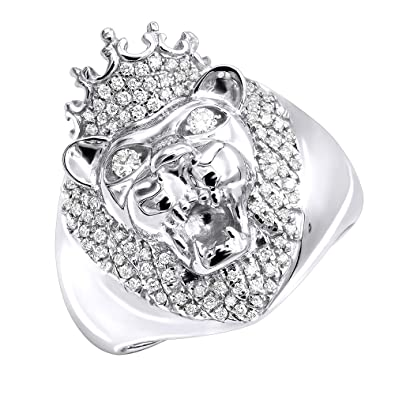 1d21a453802725 Mens Pinky Ring 14k Rose, White or Yellow Gold King Lion Head and Crown  Diamond Band 0.5ctw by Luxurman|Amazon.com