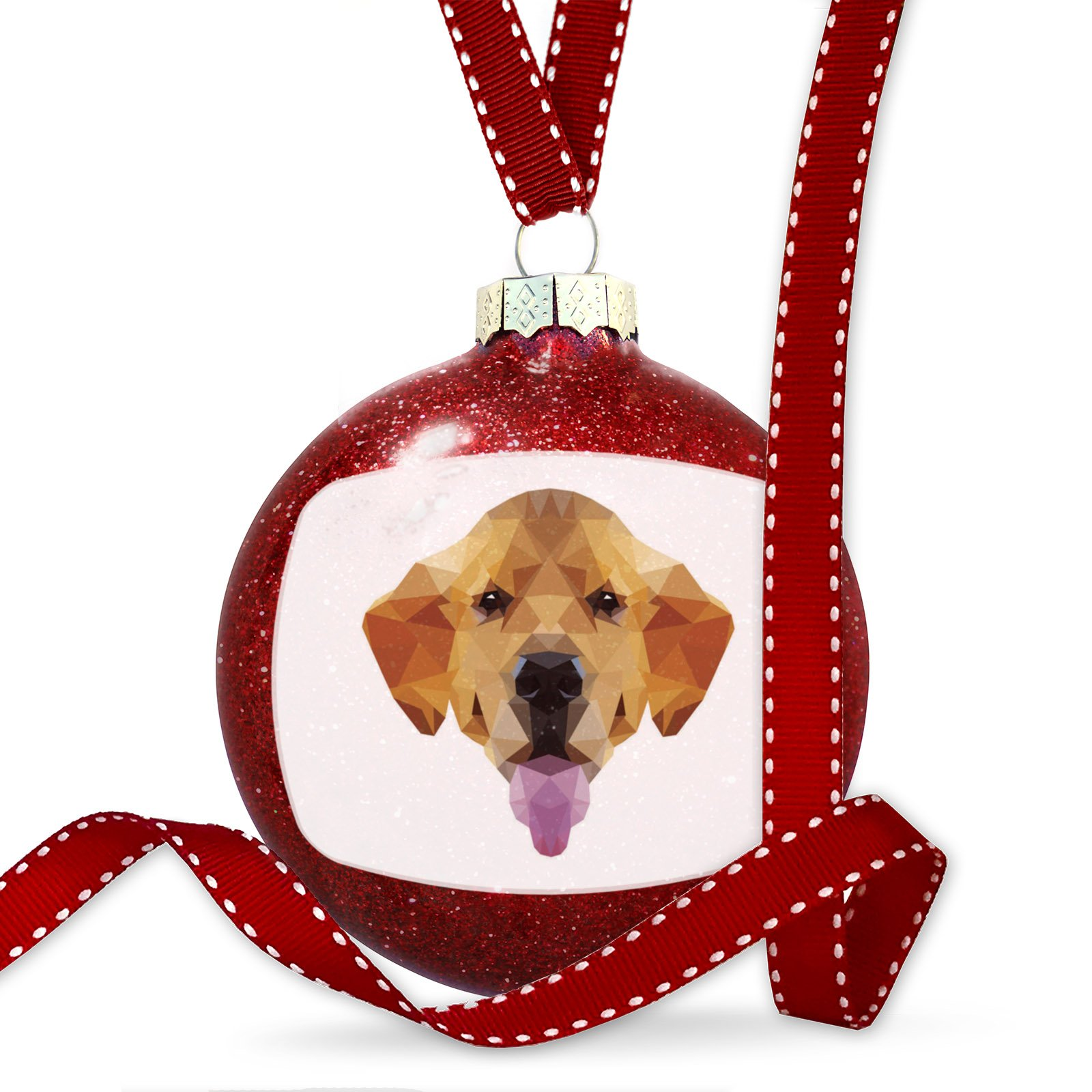 Christmas Decoration Geometric Animal art Golden Retriever Dog Ornament by NEONBLOND