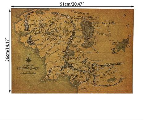 hzcl Cartel De Papel, El Señor De Los Anillos El Mapa Hobbit ...