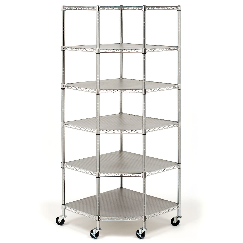 Heavy Duty Steel 6-Tier Corner Restaurant Shelf Commercial Food Storage, NSF Approved