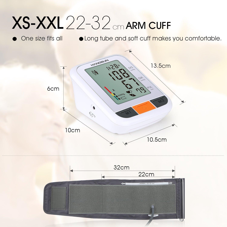 Hangsun blutdruckmessgerät oberarm vollautomatische BM230 mit großem LCD display, 2 Speicher-Plätzen, Universal-Manschette, WHO Anzeige und arrhythmie erkennung