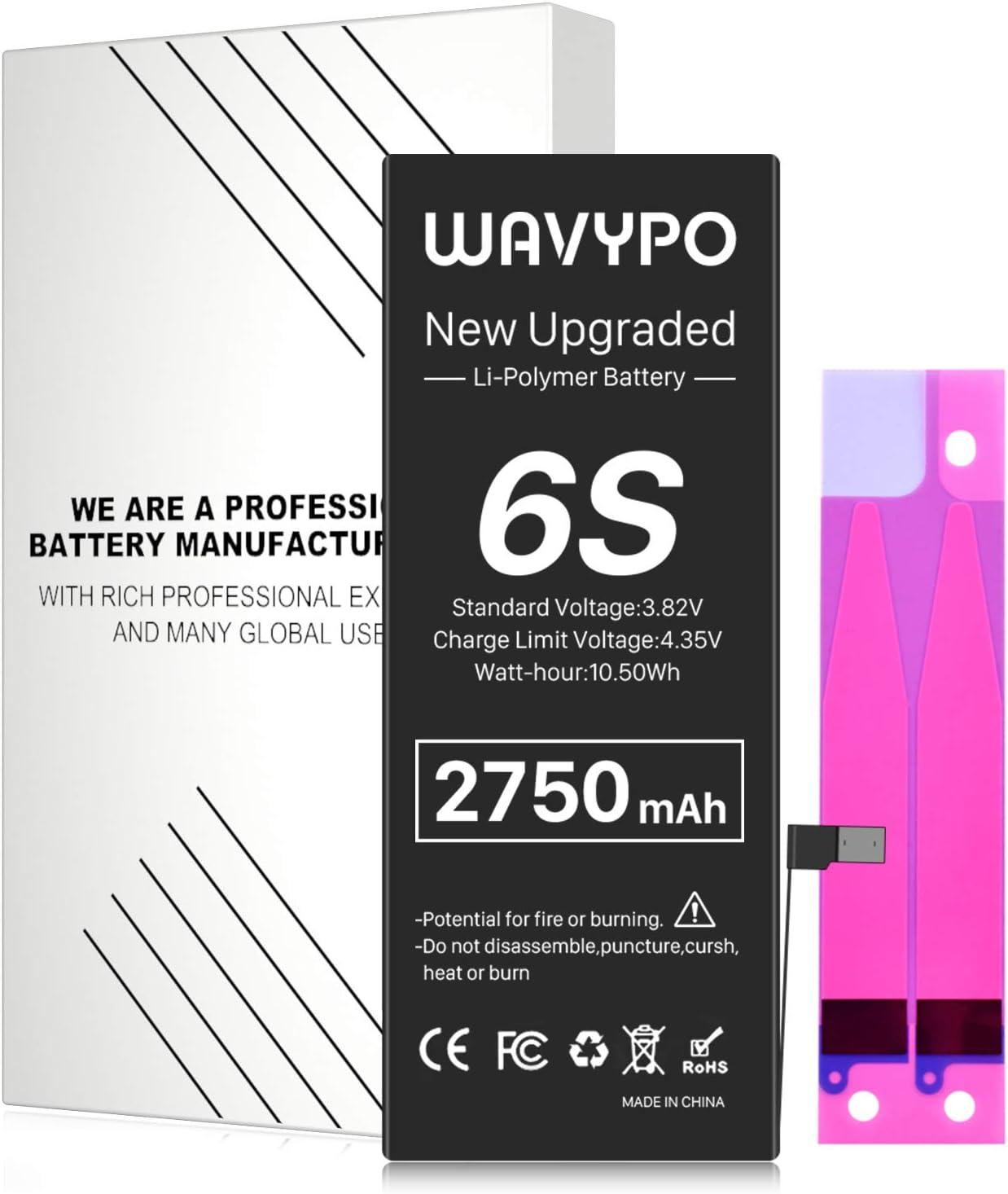 Battery for iPhone 6S, 2750mAh Wavypo High Capacity New 0 Cycle Battery Replacement for iPhone 6S A1633 A1688 A1700 and Instruction