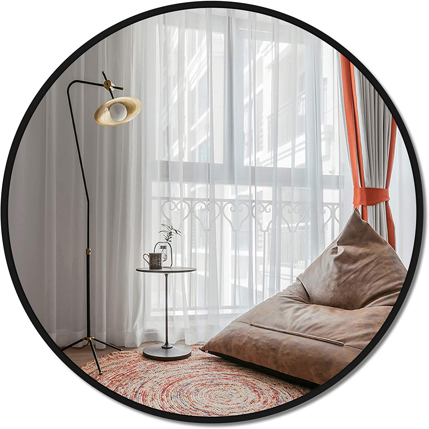 LRGLASS 36 Inches Round Mirror, Large Wall-Mounted, Circle Black Metal Framed Mirror, Hanging Modern Decor for Bathroom, Living Room, Entryway, Dressing Room