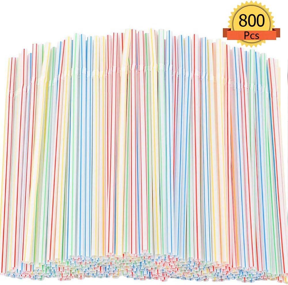 800 Pcs Pajitas de Plástico flexible,Pajitas para Bebida Desechables rayas, sin BPA, 8 Pulgadas - para fiesta, Bares, Restaurantes