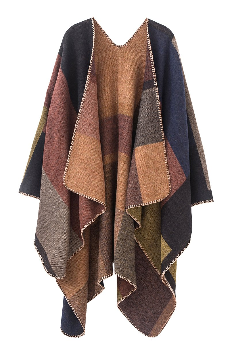 Urban CoCo Women's Color Block Shawl Wrap Open Front Poncho Cape (Series 1-khaki) by Urban CoCo